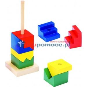 Wieża ciętych kwadratów - nakładanka - poziom trudny