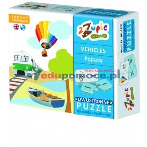 Pojazdy - puzzle polsko-angielskie