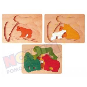 Małpki i tygryski - puzzle drewniane trójwarstowe