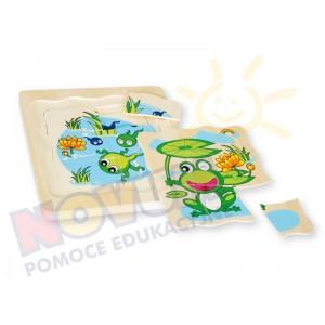 Żabka mała - puzzle drewniane wielowarstwowe