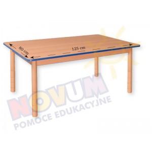 Stół prostokątny bukowy z obrzeżem kolorowym - z dokrętkami prostymi