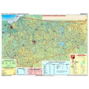 Województwo warmińsko-mazurskie - mapa fizyczna - tablica ścienna