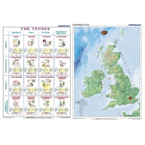 DUO The tenses active voice - The British Isles Physical - tablica ścienna