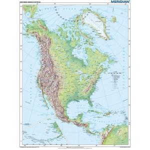 North America physical - tablica ścienna