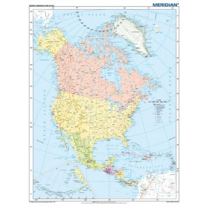 North America political - tablica ścienna