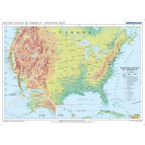 United States of America physical - tablica ścienna