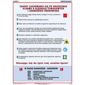 Alarmy! Jak zachować się podczas alarmu o klęskach żywiołowych - tablica ścienna