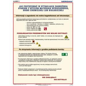 Alarmy! Jak zachować się w sytuacjach zagrożenia aktem terroru - tablica ścienna