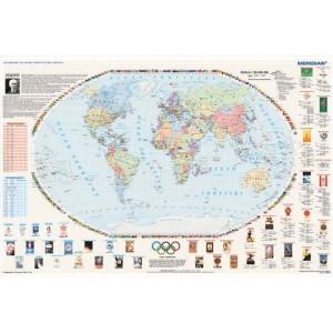 Olimpiady na mapie świata - idea olimpijska - tablica ścienna