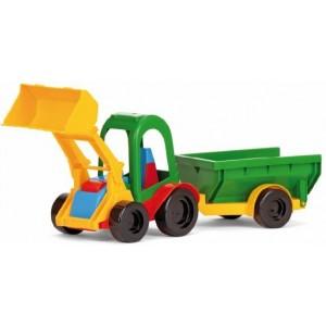 Traktor z łyżką i przyczepą towarową